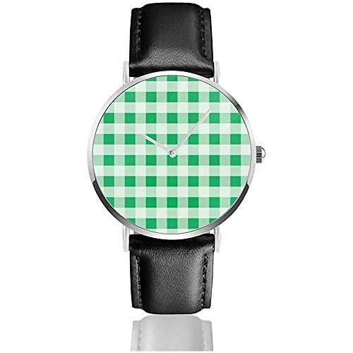 Grüne horizontale Gingham-Beschaffenheit Rhombussquares-Lebensmittel und Getränk-Edelstahl-Lederarmband passt Armbanduhren auf