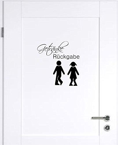 Mabi-IN-Design Getränke Rückgabe WC Badezimmer Toilette Wandtattoo Tattoo Wandaufkleber B420 (schwarz)