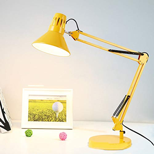 LED Cuidado Ocular Lampara Escritorio Lámpara De Mesa Metal Lámpara De Arquitecto Largo Regulable Brazo Oscilante por Lectura Trabajo Estudiar Oficina,Amarillo