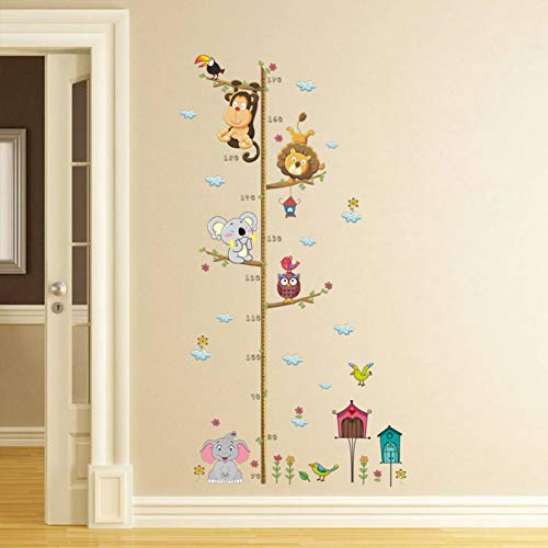 YUIOP Cute Zoo Height Measure Wall Home Decoration Kids Children Room Height Ruler Animals