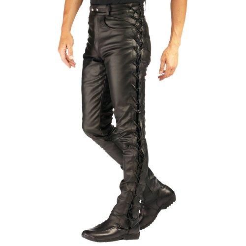 Roleff Racewear Lederhose mit seitlicher Schnürung, Schwarz, 46D