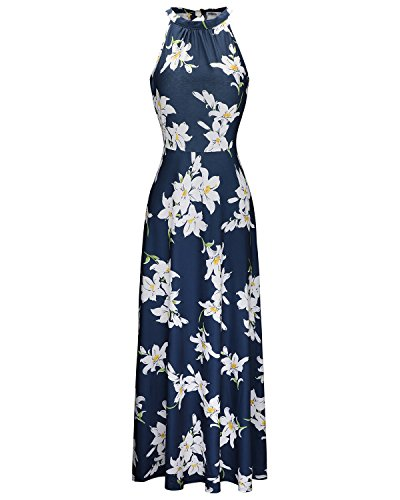 STYLEWORD Women's Off Shoulder Elegant Maxi Long Dress(Floral 02,XL)