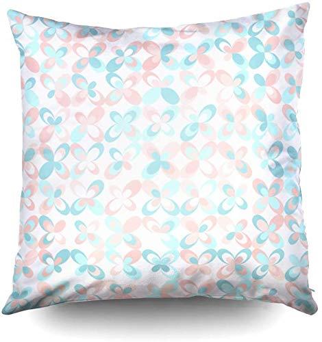 My Pillow Covers,Floral Mid Century Retro Fondo Pastel Rosa y Menta Colores Sin costuras, Patrón Vector Abstracto Turquesa Fondo 20 x 20 pulgadas Fundas de almohada para el hogar dormitorio y Sof