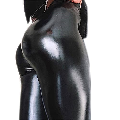 OMKMNOE Damen Lederhose Stretch Skinny Leggings High Waist Hose Smooth Strumpfhose Kunstleder Hose,Latex Lack Catsuit Übergrößen Wetlook Macht Die Figur Schlanker,Schwarz,XL