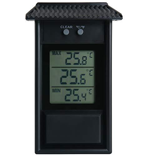 Andifany Garden Thermomètre étanche Thermomètre à Mémoire Thermomètre pour Fenêtre Extérieure Thermomètre pour Réfrigérateur Thermomètre Noir