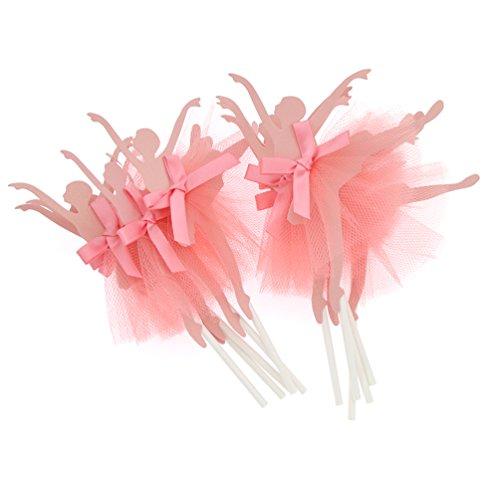 YNuth 10 Piezas de Toppers para Tartas de Papel del Diseño de Bailarinas de Ballet para Decoración de Tartas de Cumpleaños Boda Color Rosado
