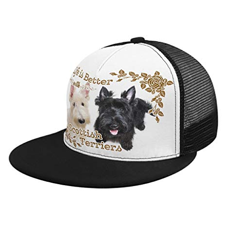 Xuanwuyi Life Is Better Dog Scottish Terriers - Gorra ajustable para amigos (personalizable), color blanco