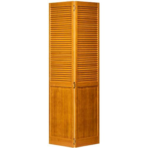 Kimberly Bay Traditional Louver Panel Golden Oak Solid Core Wood Bi-fold Door (80x36)