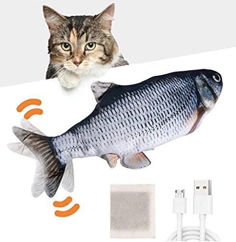 Huarumei Flipity Fish Katzenspielzeug Elektrisch Fisch, Katze Spielsachen Fisch USB mit Katzenminze, Interaktives Katzen Spielzeug Zappelnder Fisch für Spielen, Beißen, Kauen und Treten - Silber