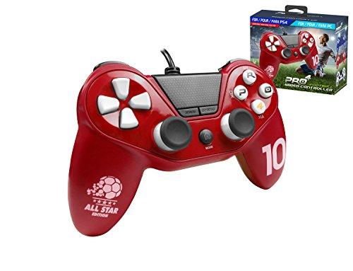 Pro4 Calcio Controller per Playstation 4 - Ps4 Slim - Ps4 Pro - Playstation 3 - Pc Pro4 - Cablato Rosso