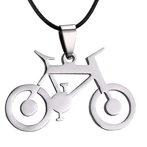 Collar Hombre Hombres Joyería Plata Bicicleta Colgantes Collares 316l Acero Inoxidable Cadena De Cuero Hombres Collares De Moda Colgante Regalos