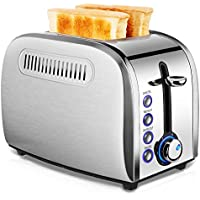JEWJIO Two Slice Stainless Steel Toaster with Removable Crumb Tray