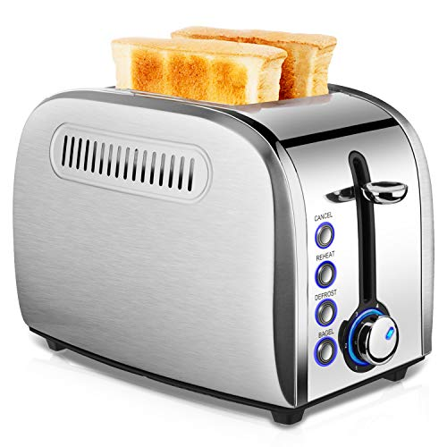 Toaster 2 Slice Best Rated - Stainless Steel Toaster Easy To Use with Removable Crumb Tray Two Slice Toaster with 2 Slice Extra Wide Slots for Bagels, Cancel/ Defrost/ 6 Bread Shade Settings/ Reheat Function