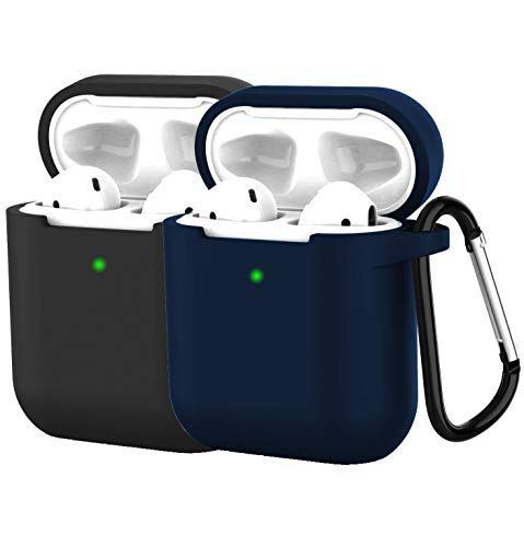 [2Pack] Compatible with Airpods 2 Wireless Charging Case, Protective Thicken Airpods Cover Soft Silicone Chargeable Headphone Case with Anti-Lost Carabiner-Black+darkblue