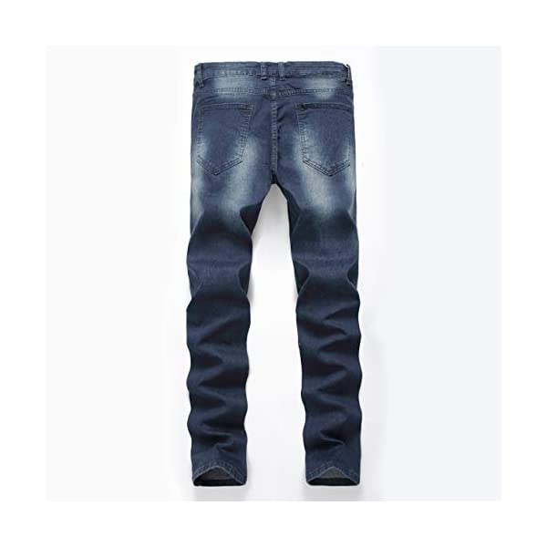 Men's Blue Skinny Jeans Stretch Washed Slim Fit Straight Basic Denim Pencil Pants 5