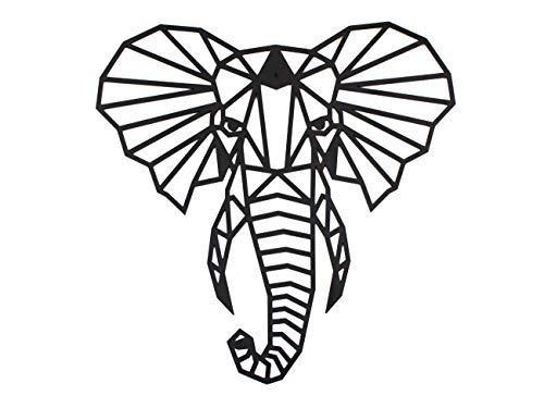 CONTRAXT Figuras geométricas animales decorativas Cuadros de elefante Decoración pared animales Decoración figuras cabeza animal pared Adornos salon modernos (Elefante)