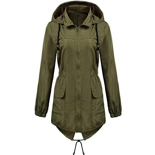 DNOQN Frauen Solide Regenjacke Draussen Übergröße Wasserdicht Mit Kapuze Winddicht Loser Mantel Armeegrün XXXXL