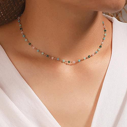 ZEREA Hänge halsband runda pärlor enkla gröna och färska pärlor halsband kedja hals accessoarer bohemisk strand semester halsband gåva för kvinnor och flickor