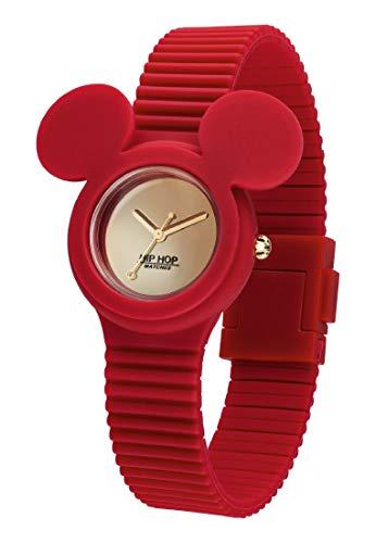 Hip Hop Watches - Orologio Mickey Mouse da Donna Edizione Speciale Anniversario Topolino - Collezione Mickey Iconic - Cinturino in Silicone - Cassa 32mm - Impermeabile - Rosso