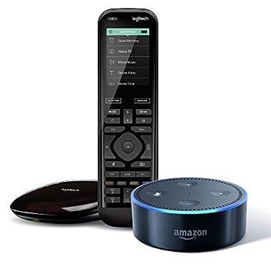 Logitech Harmony Elite + All-New Echo Dot (2nd Generation) - Black, Works with Alexa