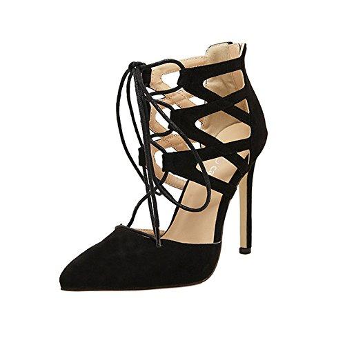 Geilisungren Damen Plateau Sandaletten mit Pfennigabsatz High Heels Plattform Gladiator Sandalen Spitz Pumps Schnür Stiefel Schuh Elegant Hochzeit Party Abendschuhe