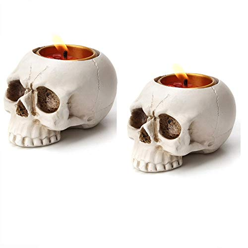 Lucktao 2PCS Skeleton Skull Candlestick Holder Halloween Home Party Decorative Resin Skeleton Candle...