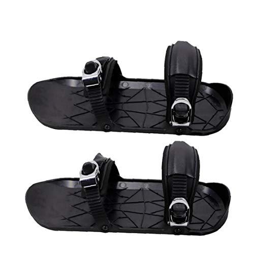 Ski-Schuhe Mini Winterized Skis Außen Adjustable Skifahren Schlitten Tragbare Skates Schuhe Durable für Winter Outdoor Schwarz 2ST