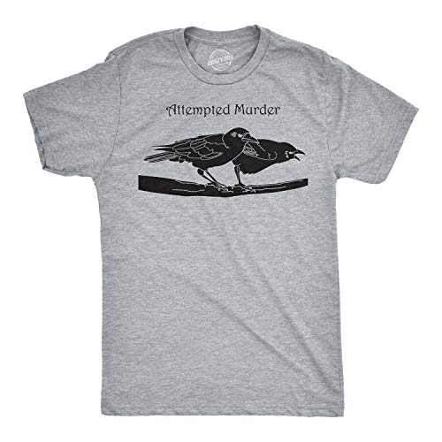 Attempted Murder T Shirt Funny Sarcastic Novelty Graphic Tee Adult Humor Top (Light Heather Grey) - XXL