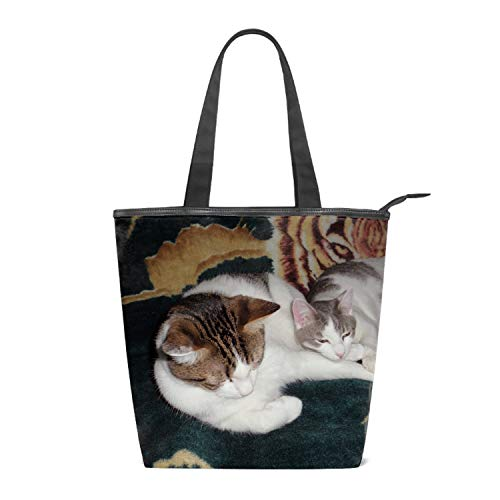 Women's Canvas Zipper Closure Handbag Cat Sleeping Handbags Shoulder Lunch Tote Bag with Large Capacity Best Gifts for Teen Girls