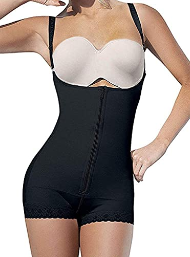 SHAPERX Women Body Shaper Open Bust Firm Control Shapewear Fajas Colombia Bodysuit Slimmer, SZ7102-Black-M