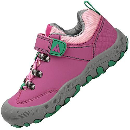 Mishansha Mädchen Laufschuhe Leichten Angenehm Wanderschuhe Straßenlaufschuhe Weich Abriebfeste Flach Sneaker für Jungen Klettverschluss Kinderschuhe Low-top Tennisschuhe, Pink 26