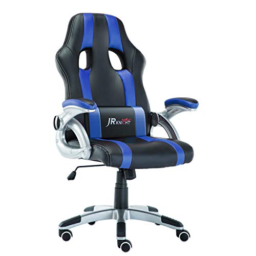 JR Knight Ergonomics Gaming Chair, Sporty Racer Chair Updated Version High Back Faux Leather Executive Desk Chair, Free Swivel Rocking Design with Adjustable Arms Match All Desks (Blue) blue chair gaming Whale