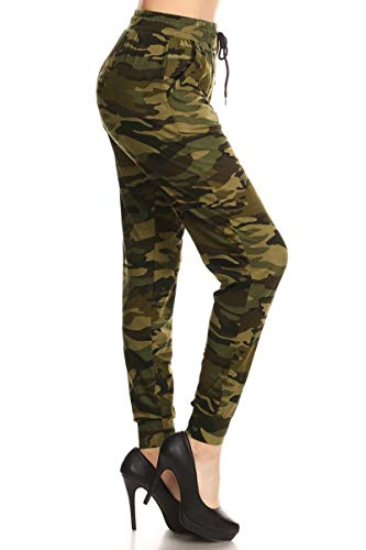 Leggings Depot JGA-N021-L Camouflage Army Print Jogger Pants w/Pockets, Large