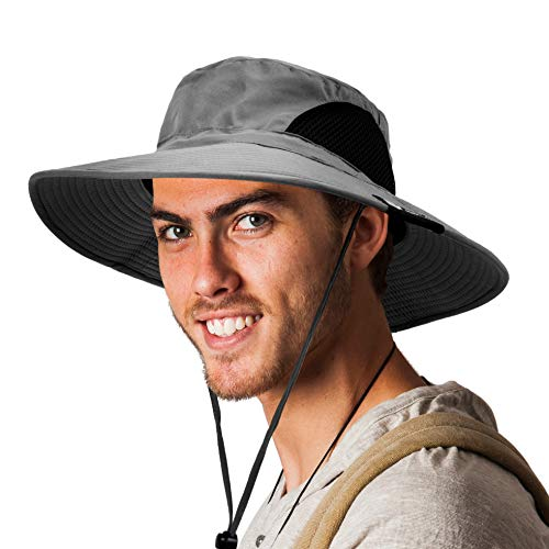 SUN CUBE Fishing Hat for Men, Women | Hiking Boonie Hat with Wide Brim, Adjustable Chin Strap | Safari Summer Bucket Sun Hat | UPF 50+ Protection | Packable Breathable Mesh (Gray)