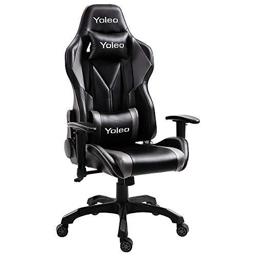 YOLEO Gaming Stuhl Bürostuhl Racing Stuhl Gamer Ergonomischer Stuhl mit Lendenkissen, Hohe Rückenlehne Verstellbarer Drehstuhl, mit einstellte Kopfstütze,150 kg Belastbarkeit, PU-Leder (Schwarz-Grau)