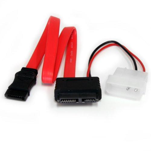 STARTECH.COM SLSATAF12 Cavo Adattatore Slimline SATA a SATA E, Alimentazione LP4, 30.5 cm, Rosso