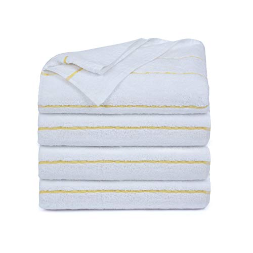 Ample Decor 100% Cotton Extra Long Cabana Stripe Pack of 4 Beach & Pool Towels, Super Soft Eco...