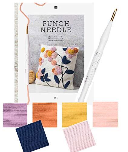 Rico Punch Set für 2 Kissen Blütenträume mit 800g Wolle, Anleitungsbuch, Punchnadel und Stoff