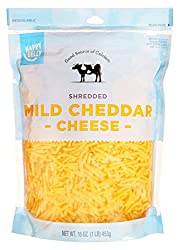 Amazon Brand - Happy Belly Shredded Mild Cheddar, 16 Ounce