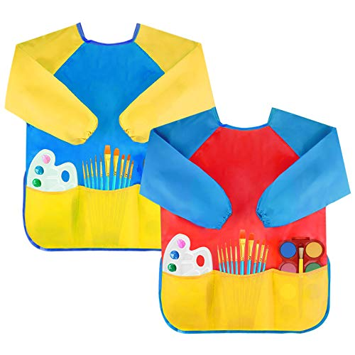 2 Packs Kids Art Smocks, Children Waterproof Artist Painting Aprons Long Sleeve with 3 Pockets for Age 2-6 Years Gifts