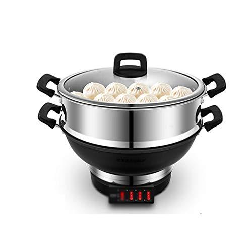 SCRFF Vaporera eléctrica Wok hogar Caliente eléctrica Olla de Cocina eléctrica de múltiples Funciones Hot Pot Antiadherente Vapor