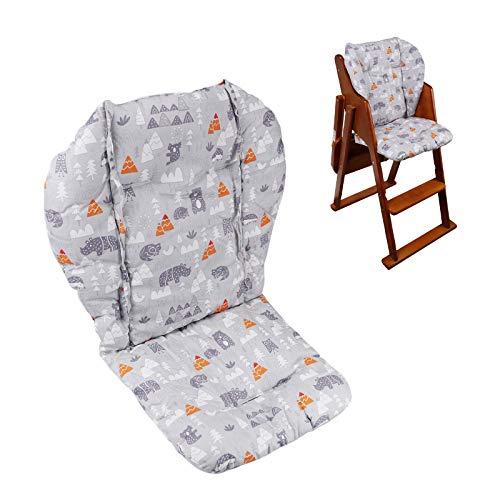 Cojín para silla alta de bebé, almohadilla gruesa para silla alta de madera, alfombrilla para silla de comedor de bebé (bosque gris)