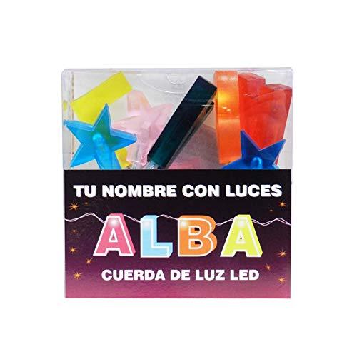 TU NOMBRE CON LUCES - Cadena de luz LED con nombres y símbolos ¡TU NOMBRE EN LAS LUCES! 8 Luces LED con letras, si el nombre tiene menos, viene con símbolos extra como estrellas. (Alba)