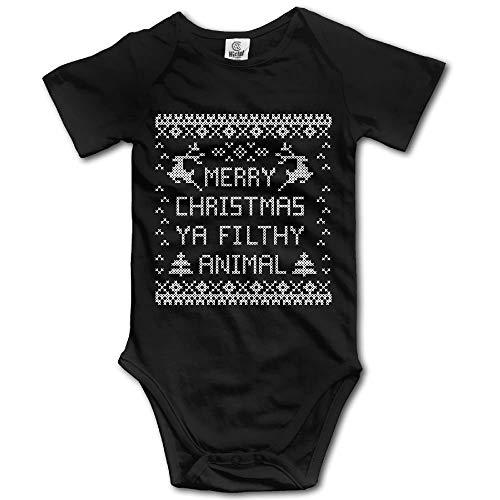 SDGSS Ropa para bebés Bodysuits Merry Christmas You Filthy Animal 1 Bodysuit Baby Playsuit Union Suit Baby Short-Sleeve Bodysuit
