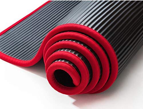 Coner Extra Dikke Antislip Yogamatten Voor Fitness Smaakloze Gym Oefenpads met Verbanden, Zwart