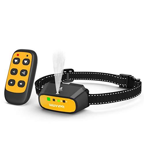 WWVVPET collar de entrenamiento para perro, 2 modos, cuello de corteza de citronela (aerosol de citronela no incluido), rango de 500 pies, sin choque eléctrico, resistente al agua, recargable