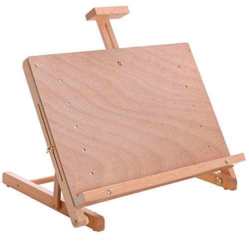 """U.S. Art Supply Cancun Solid Wooden Adjustable Tabletop Artist Studio Easel - Sturdy Wood Beechwood Desktop Painting, Drawing Table, Sketching Board and Display Easel, Holds Up To 23"""" Canvas"""
