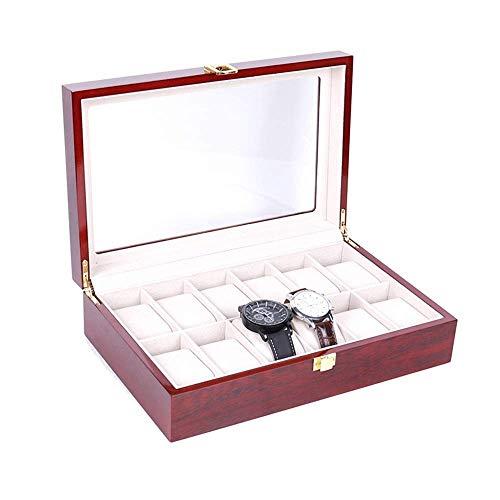 Nuokix Caja de almacenamiento caja de reloj reloj de exhibición del reloj de la joyería Caja de almacenamiento Colección organizador del caso de madera titular for el hombre reloj de las mujeres Organ