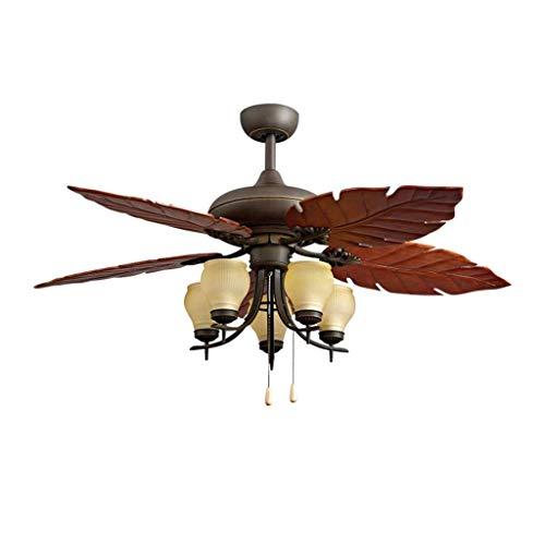 Inicio Equipo Luz de ventilador de madera maciza de campo Luz de ventilador antiguo Luz de ventilador de restaurante de sala de estar Luz de ventilador retro (Color: Control de pared Tamaño: 52 pul