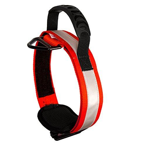 Fusion Pets Trekker Adjustable Hi-Vis Military Tactical Police K9 Ergonomic Reflective Strip Dog Collar Hunting Guard Canine Large Red